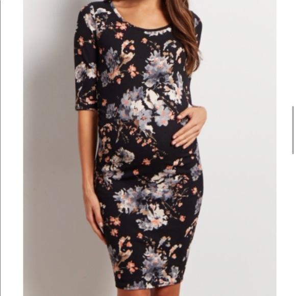 5dac8ede04c Black floral fitted maternity dress. M 5c5596dfe944ba1f5315d7da